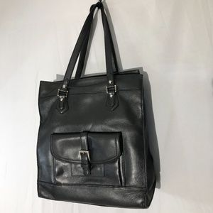 Coach Charlie Black Leather Should Tote 14x12.5x5